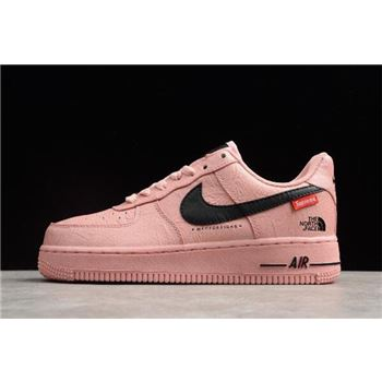 Women's Supreme x The North Face x Nike Air Force 1 '07 Pink Black For Sale