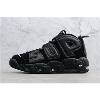 best sneakers 3776b 17f30 Supreme x Nike Air More Uptempo Black Black-White Men s Size 902290-001