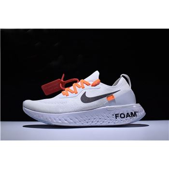 Men's and Women's Size Off-White x Nike Epic React Flyknit White Running Shoes