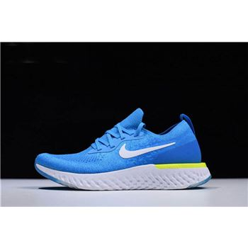 Nike Epic React Flyknit Volt Glow Blue Glow/White-Photo Blue-Volt Glow In Men's Sizing AQ0067-401