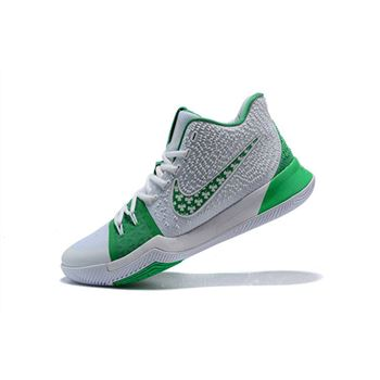 Latest Nike Kyrie 3 Green White Men's Basketball Shoes