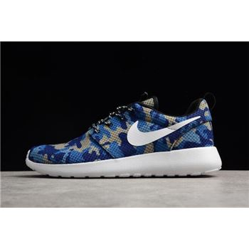 Nike Roshe Run ID White/Camo Blue Running Shoes 943711-886 For Sale